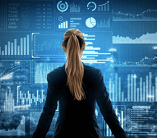 Woman Standing in Front of Wall with Virtual Analytics Data