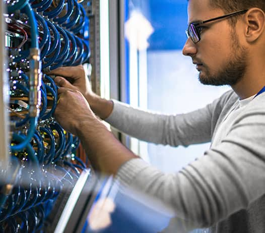 IT Technician Working on Cabling