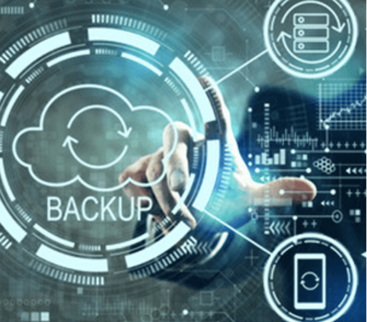 Man Pointing to Cloud Backup Graphic